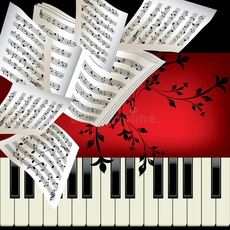 Piano. Vector background with notes vector illustration