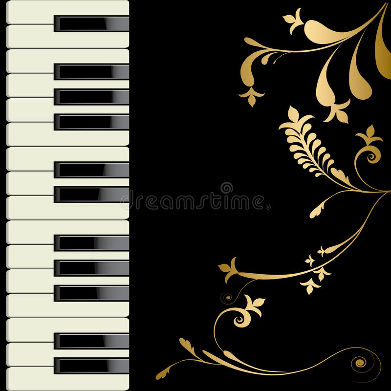 Piano. And flower decorate on black background