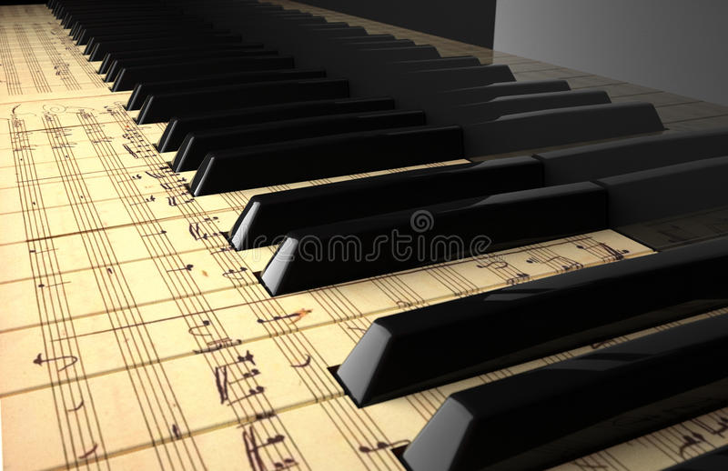 Piano. Keyboard painted with a pentagram