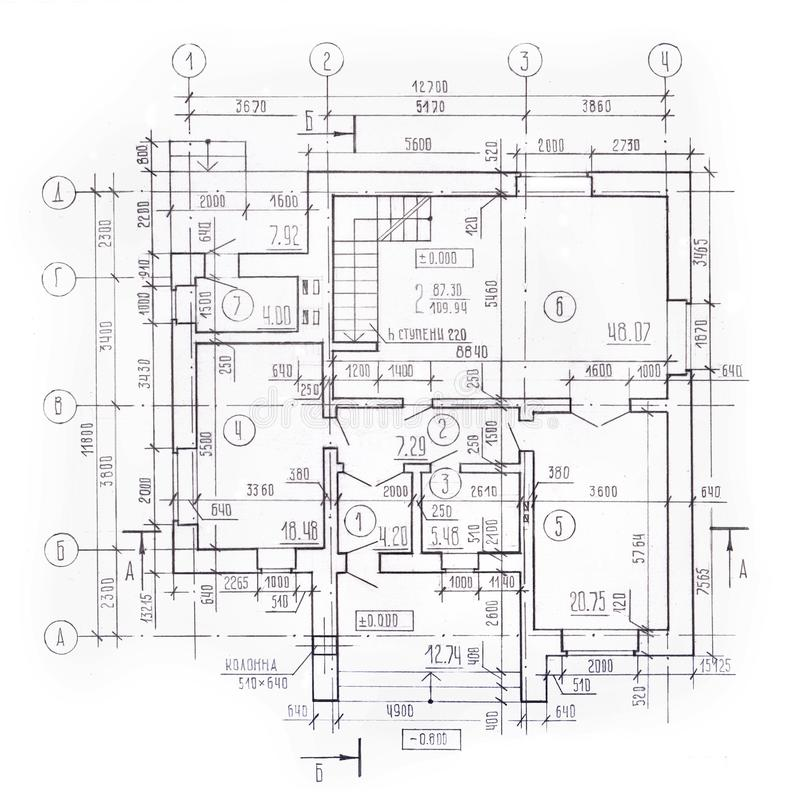 Piano architettonico del cottage, pianta, vista superiore, disegno esecutivo dettagliato Fondo architettonico d'annata modello illustrazione vettoriale