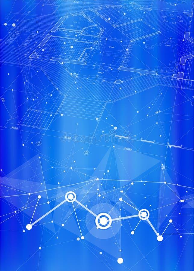 Piano architettonico della casa su un fondo tecnologico blu luminoso illustrazione di stock