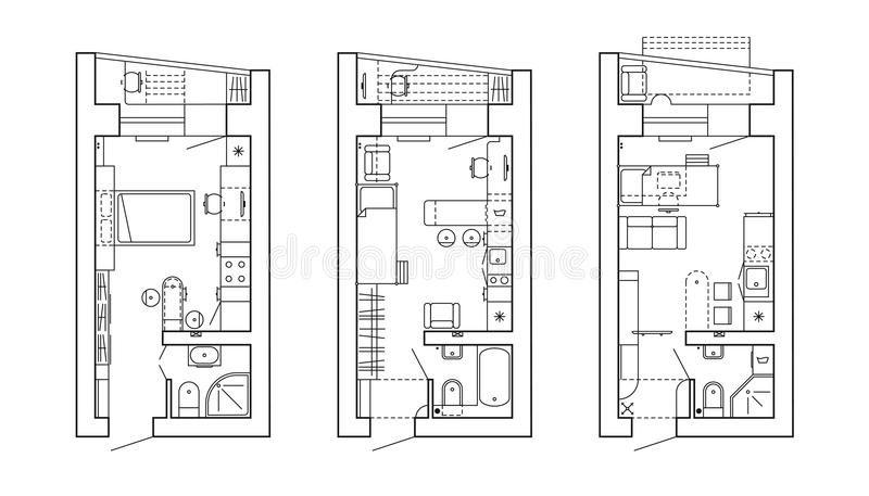 Piano architettonico di una casa Disposizione dell'appartamento con la mobilia nella vista del disegno royalty illustrazione gratis