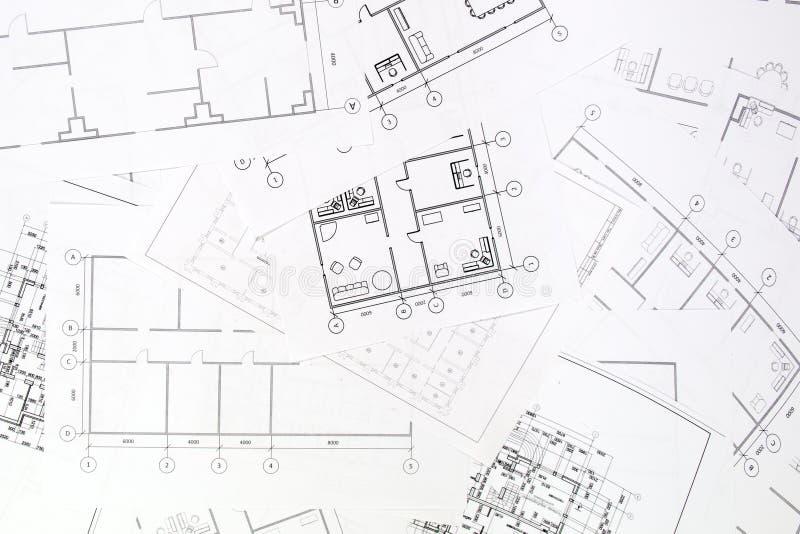 Piano architettonico Disegni e modelli della casa di ingegneria immagini stock libere da diritti
