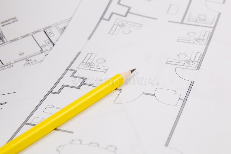 Piano architettonico Disegni, pancil e modelli della casa di ingegneria fotografia stock