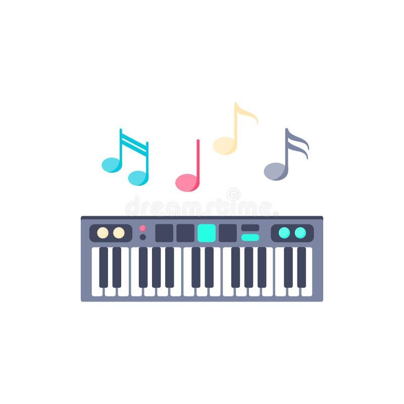 Piano avec l'icône de notes illustration stock