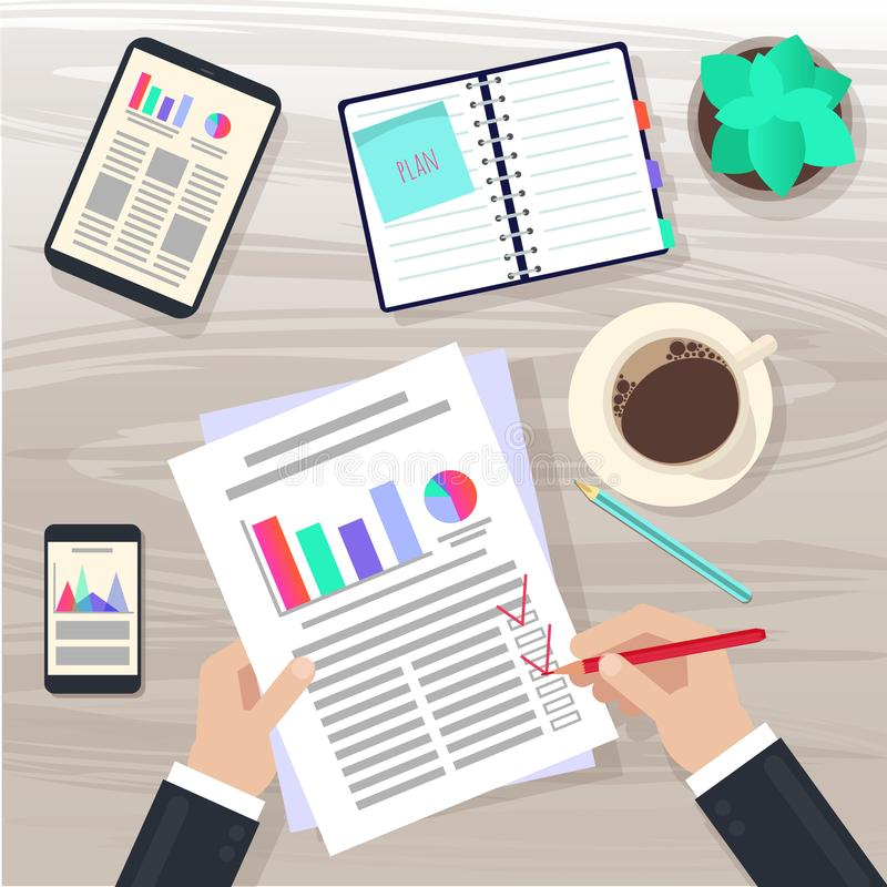 Piano aziendale Piano di vendita Vista superiore della scrivania, mani, mobili d'ufficio illustrazione vettoriale