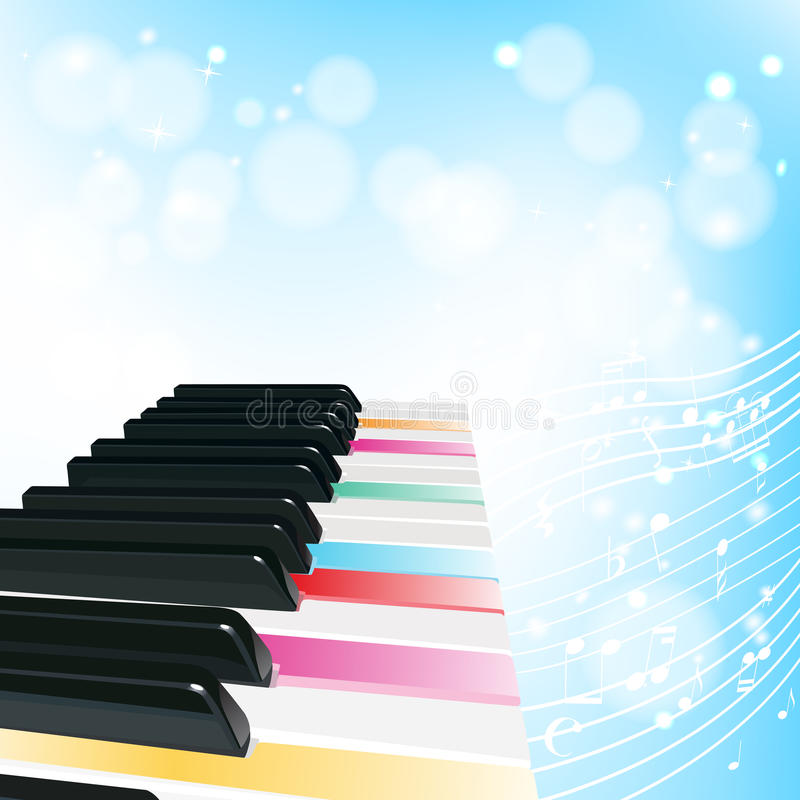 Piano background with notes. And color keys vector illustration