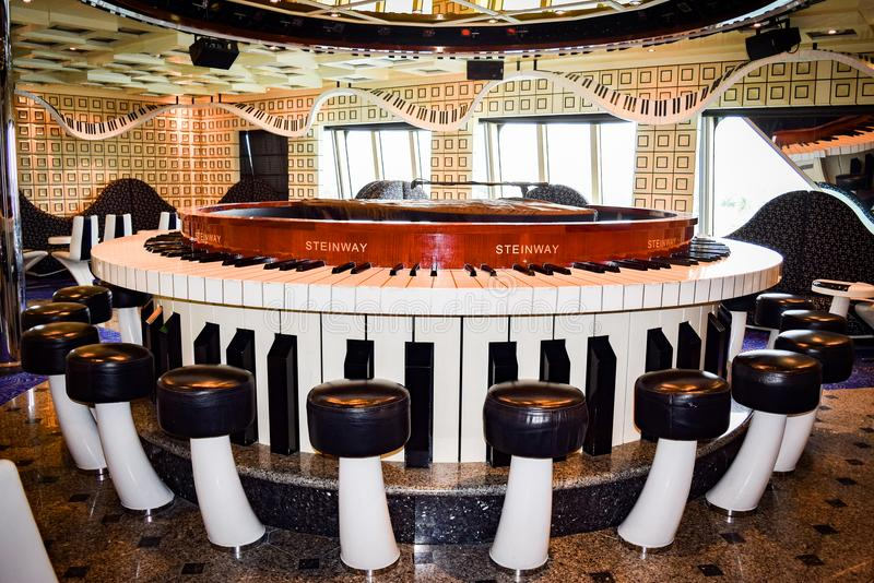 Miami, Florida - March 29 2014: Inside the Piano Bar on the Carnival Liberty cruise ship royalty free stock photo