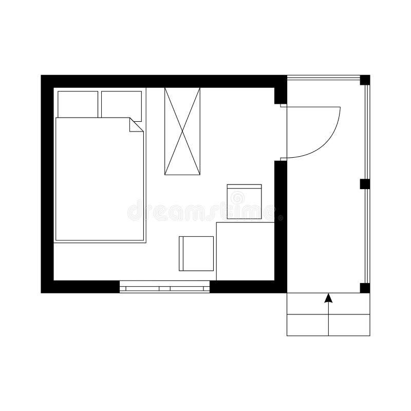 Piano in bianco e nero della casa estiva minuscola con una stanza e veranda illustrazione di stock