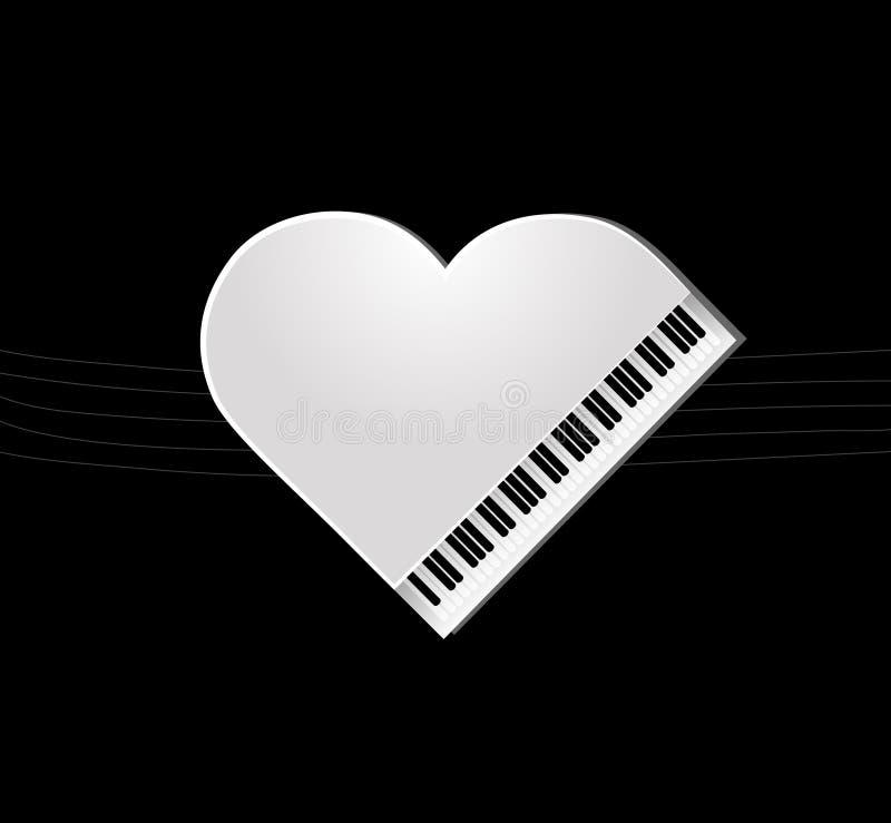 Piano on black background stock illustration