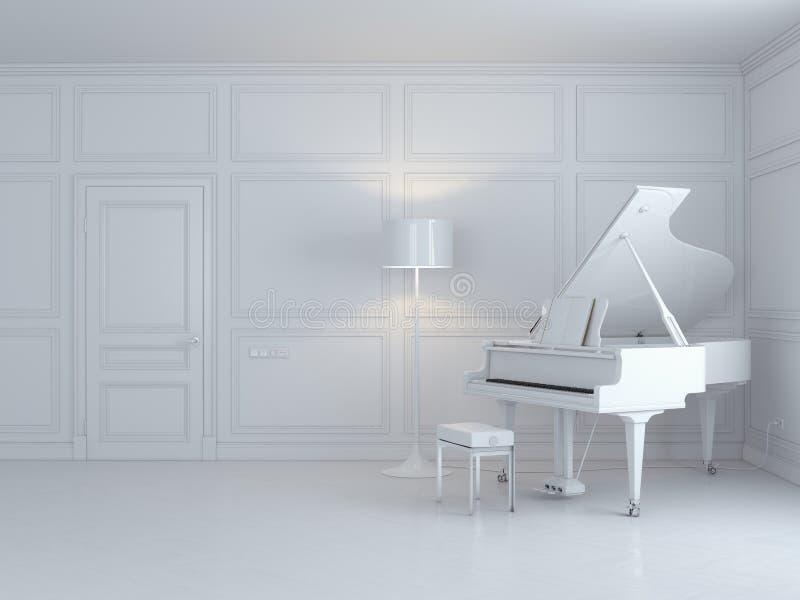 Piano blanc dans un intérieur blanc illustration libre de droits