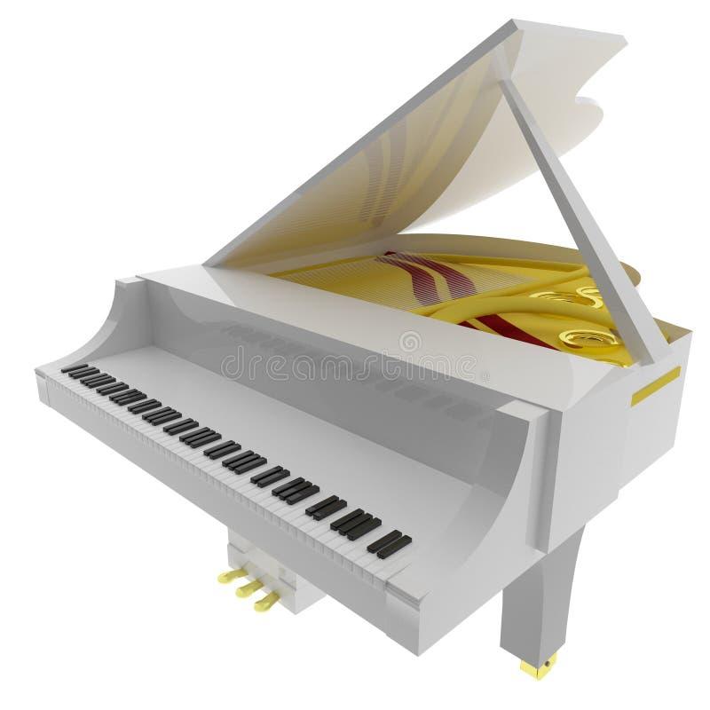 Piano blanco aislado sobre blanco ilustración del vector