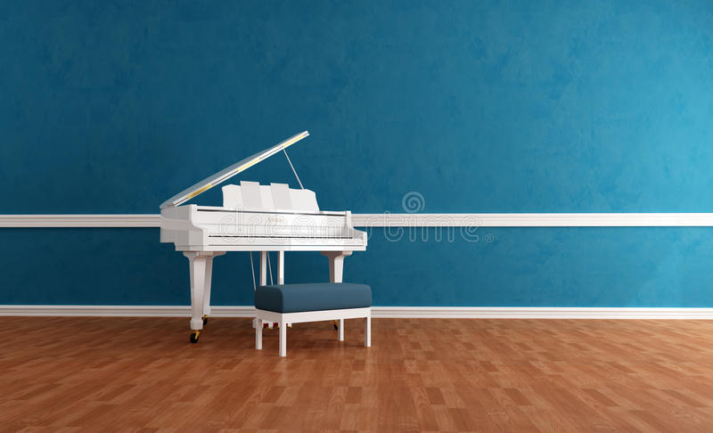 Piano branco do gran no interior azul ilustração stock