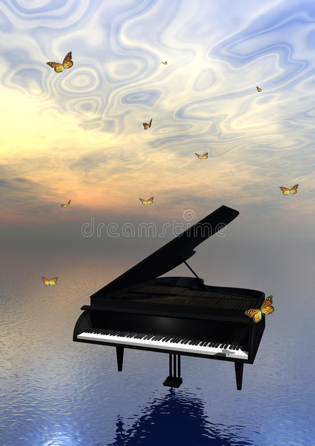 Piano and butterflies royalty free illustration
