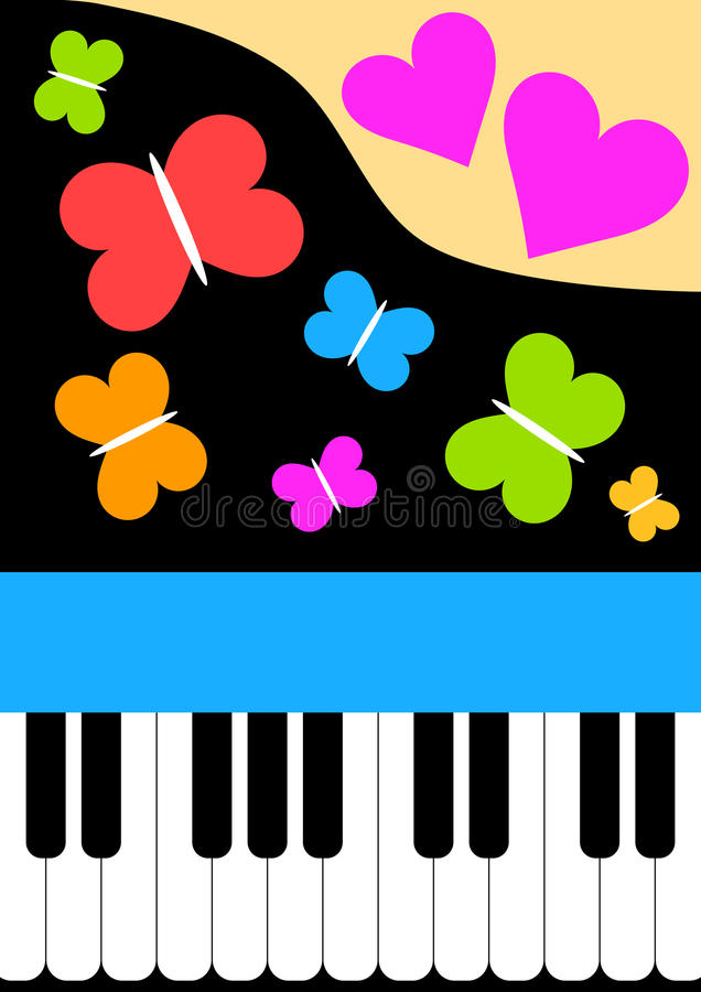 Piano card with butterflies and hearts. Piano keyboard with flying butterflies and heart, Valentines day or mothers day card royalty free illustration