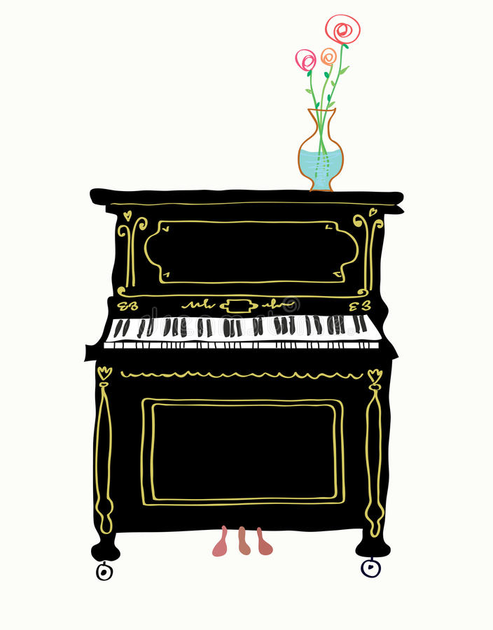 Piano card hand drawn illustration vector illustration