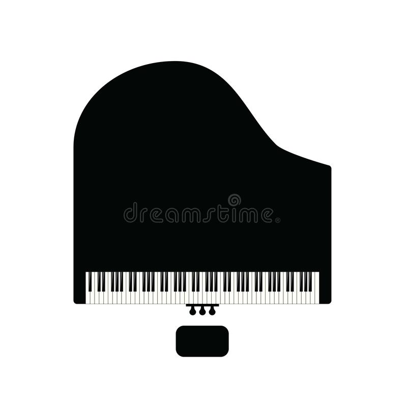 Piano with chair in black illustration. Piano with chair in black color illustration royalty free illustration