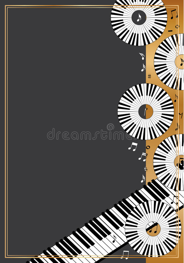 Piano circle disk card vector illustration