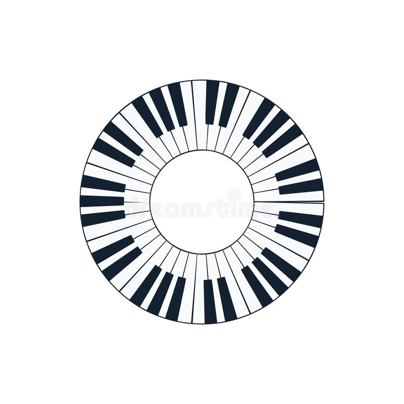 Piano circle keyboard icon. Flat color design. Vector illustration stock illustration