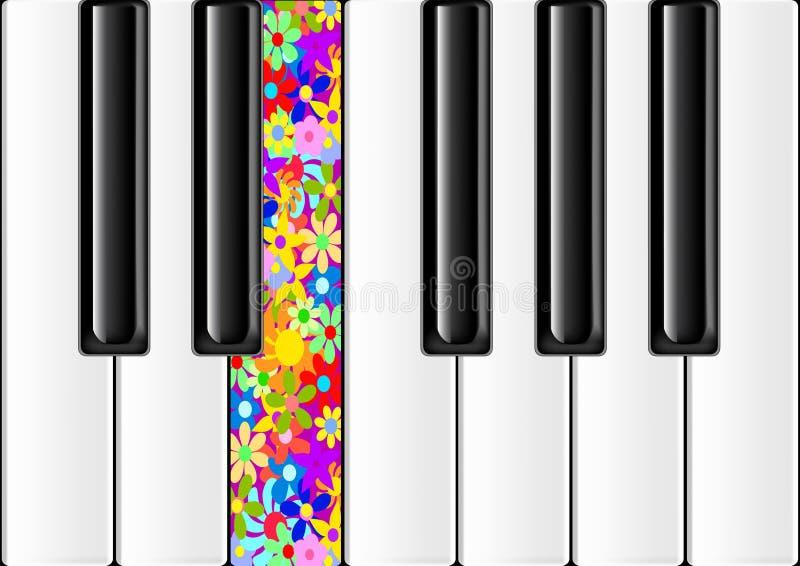Piano clássico com chave colorida ilustração do vetor