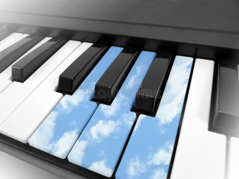 Piano in clouds stock photography