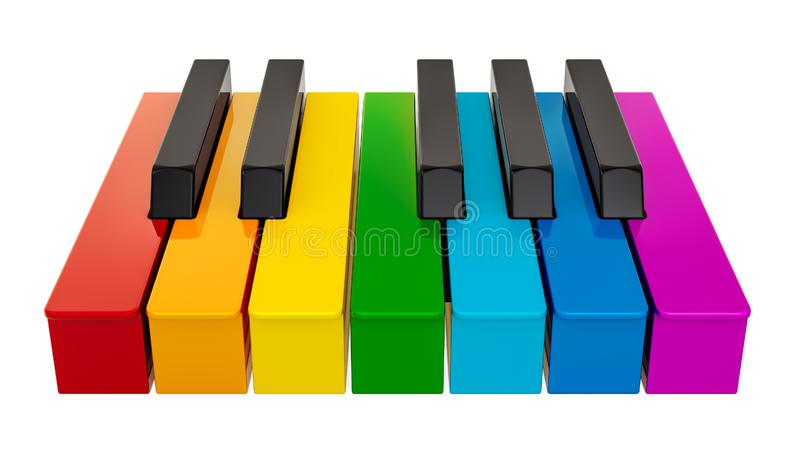 Piano colored keyboard, one octave. Music concept. 3D rendering royalty free illustration