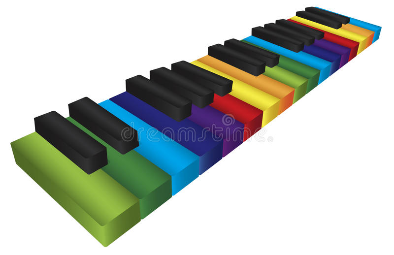 Piano Colorful Keyboard 3D Illustration Royalty Free Stock Photo