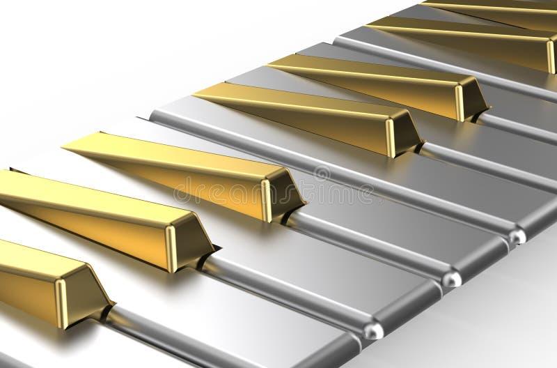 Piano com chaves douradas e de prata ilustração do vetor