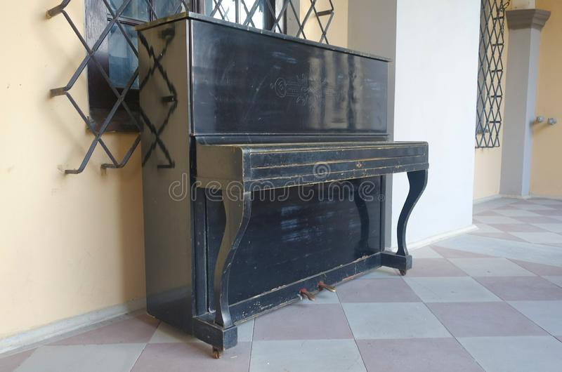 Piano in the courtyard of Nesvizh Castle. In Belarus royalty free stock images
