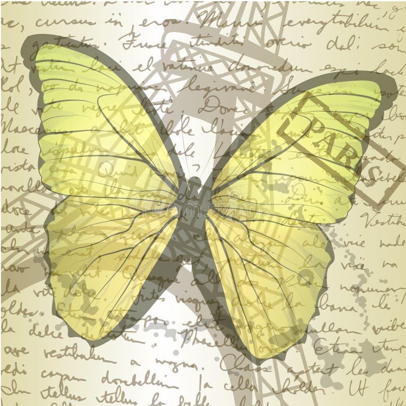 Piano d'appoggio con lo schizzo carta e della farfalla illustrazione di stock