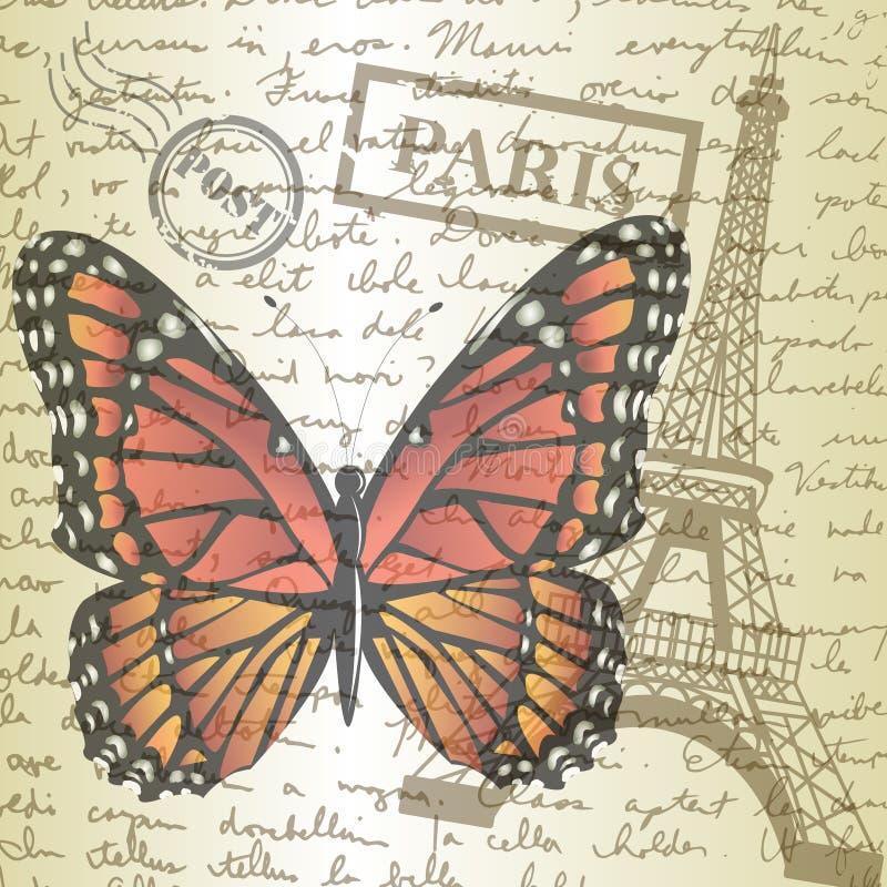 Piano d'appoggio con lo schizzo carta e della farfalla illustrazione vettoriale