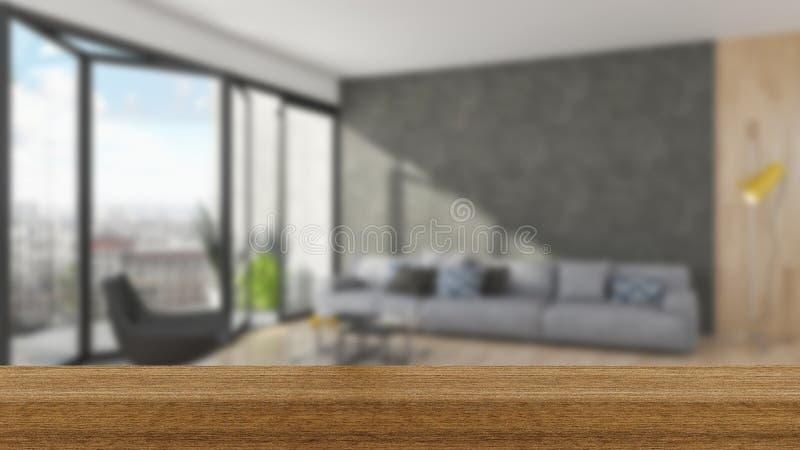 Piano d'appoggio del bordo di legno ed interno vuoti della sfuocatura sopra sfuocatura Backgro fotografie stock libere da diritti