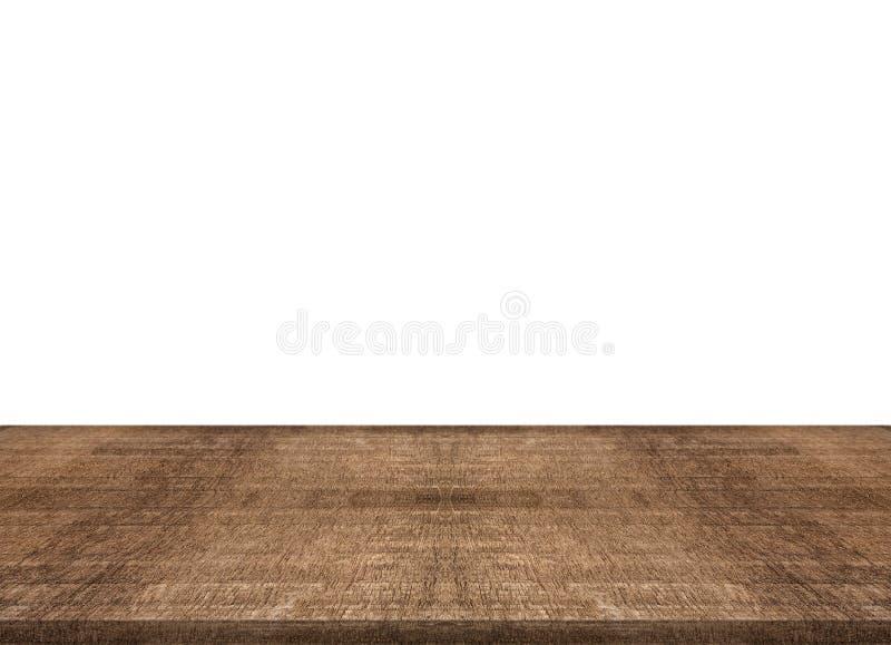 Piano d'appoggio di legno del tek vuoto su fondo bianco, montaggio dello spazio voi immagine stock