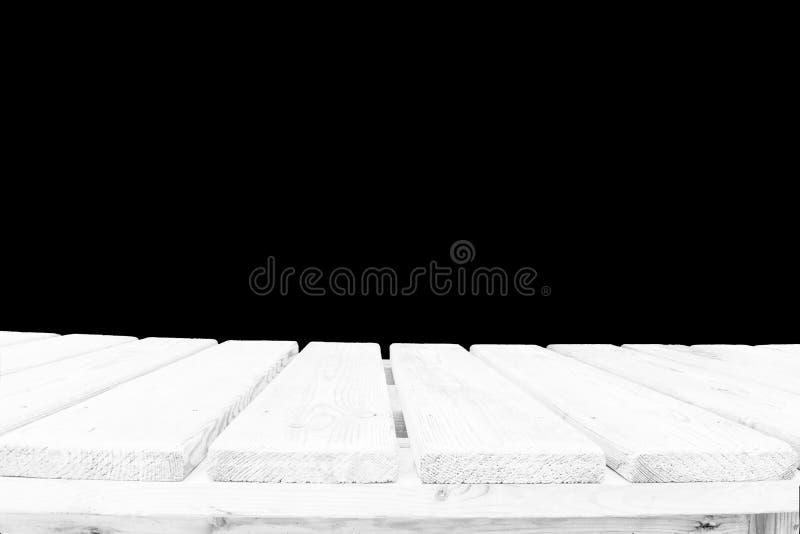 Piano d'appoggio di legno isolato su fondo bianco - può essere usato per esposizione o il montaggio i vostri prodotti fotografia stock