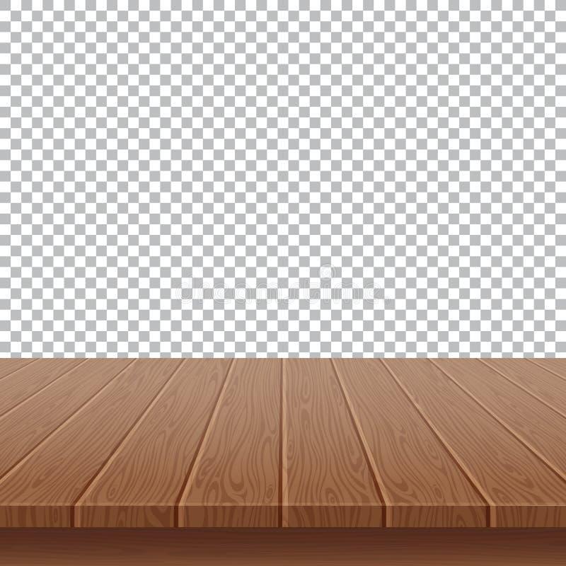 piano d'appoggio di legno su fondo illustrazione vettoriale