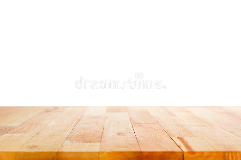 Piano d'appoggio di legno su fondo bianco immagini stock