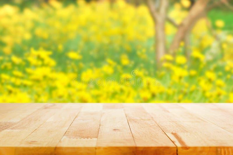 Piano d'appoggio di legno su fondo vago del giardino floreale giallo fotografie stock libere da diritti