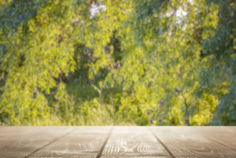 Piano d'appoggio vuoto su uno sfondo naturale verde fotografia stock libera da diritti