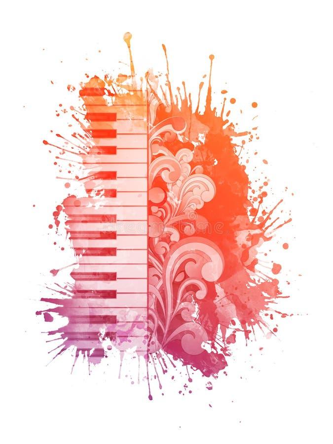 Piano d'aquarelle illustration stock