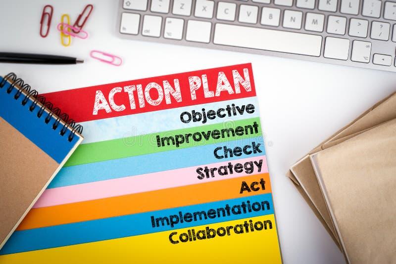 Piano d'azione Scrivania con una tastiera di computer e le pagine di colore fotografie stock libere da diritti