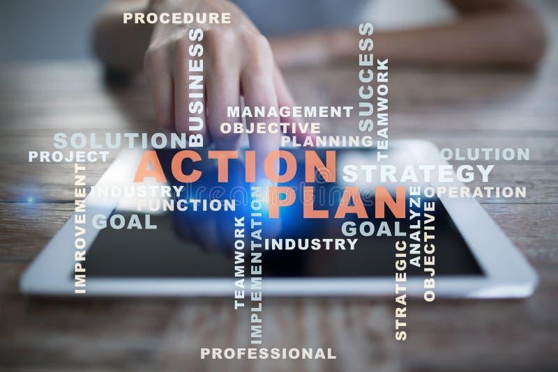 Piano d'azione sullo schermo virtuale Concetto di affari Nuvola di parole immagine stock libera da diritti