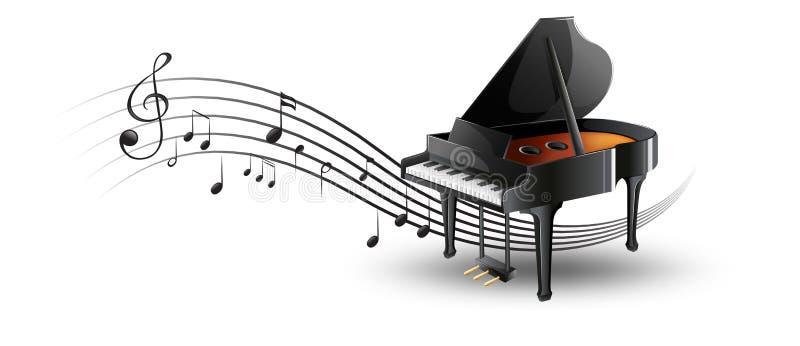 Piano de cauda com notas da música ilustração stock