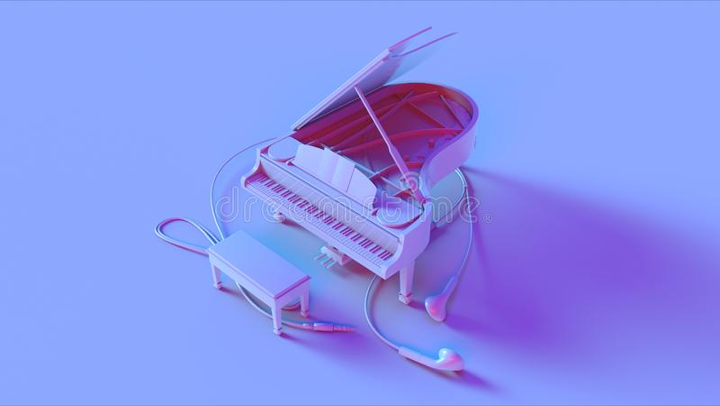 Piano de cauda cor-de-rosa azul foto de stock