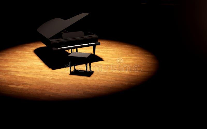 Piano de cauda na fase da sala de concertos fotografia de stock