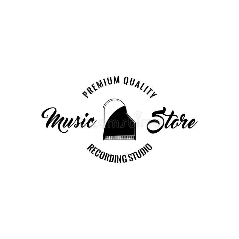 Piano de cola Emblema de la etiqueta del logotipo de la tienda de la música Instrumento musical Vector libre illustration
