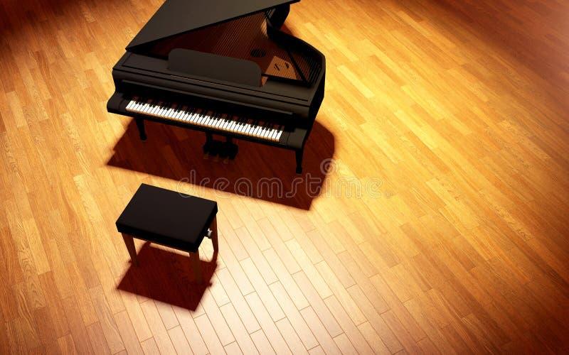 Piano de cola en la etapa de la sala de conciertos foto de archivo