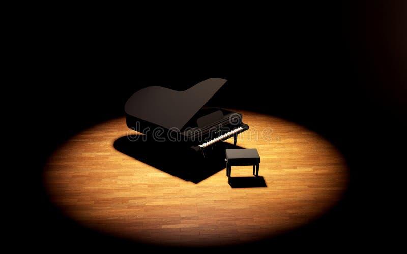 Piano de cola en la etapa de la sala de conciertos imagenes de archivo