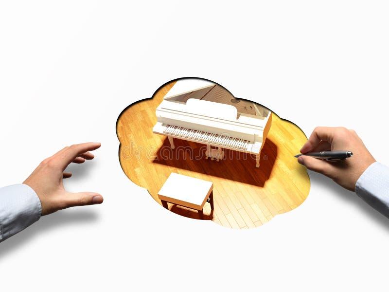 Piano de cola en la etapa de la sala de conciertos imagen de archivo libre de regalías