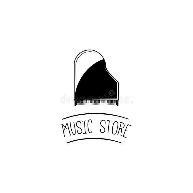 Piano de cola Etiqueta del logotipo de la tienda de la música Instrumento musical Vector stock de ilustración