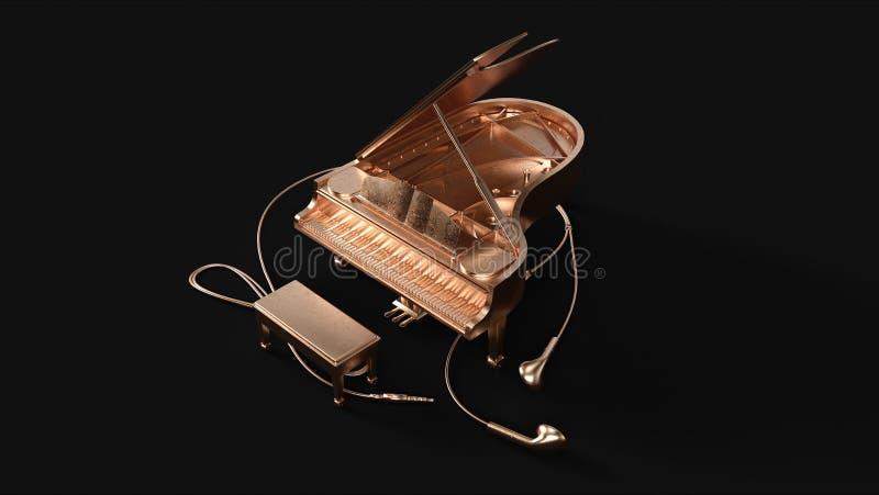 Piano de cola y botones de oído de cobre amarillo fotos de archivo